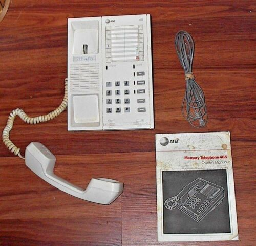 1990 AT&T MEMORY TELEPHONE 465 WALLDESK TELEPHONE PHONE w MANUAL Orig Receipt