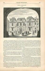 L-039-Hotel-Carnavalet-Musee-le-Marais-Paris-France-GRAVURE-ANTIQUE-OLD-PRINT-1880