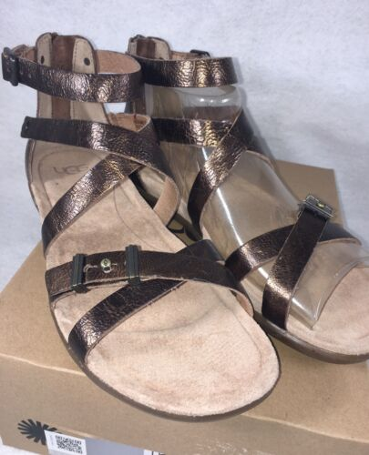a5789f22ed5 6 of 12 UGG WOMEN S CHERIE GOLD Metallic PONY BROWN LEATHER GLADIATOR  SANDALS 1009851