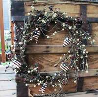 Festive & Patriotic 15 Grapevine Wreath Stars Hearts Usa Flags Americana