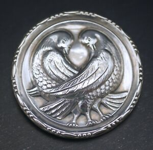 ANTIQUE-REPOUSSE-STERLING-SILVER-LG-LOVE-BIRDS-BROOCH-PIN-GEORG-JENSEN-STYLE