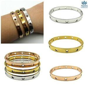 Bracciale donna in acciaio inox braccialetto rigido con stelle argento oro da a