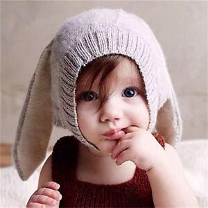 Hiver bébé lapin oreilles chapeau tricoté enfant bonnet de laine ... b7e6f1e4058