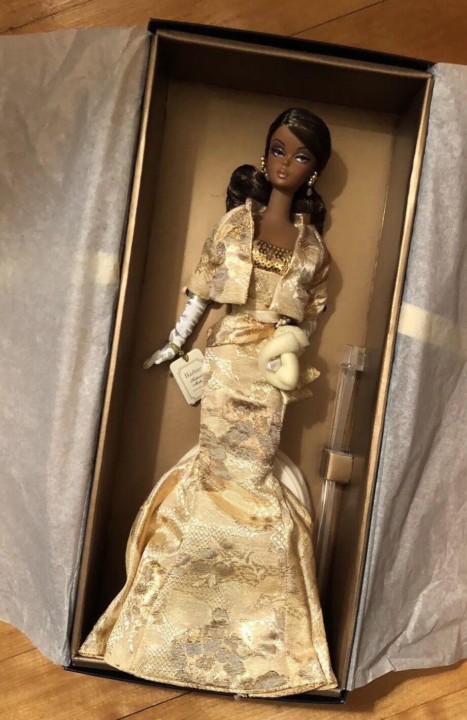 oroen Gala African American Silkstone Barbie  2009 convención  oro Label Nueva En Caja