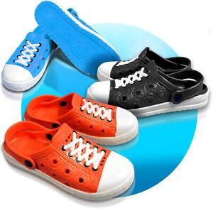 Damen-Clogs-Schuhe-Hausschuhe-Badeschuhe-Buben-Sandalen-GR-36-41-Schnuersenkel