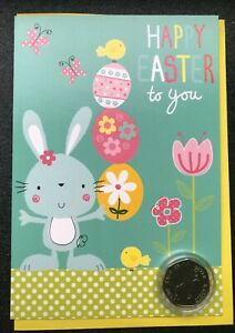 NEW-Peter-Rabbit-Easter-commemorative-coin-mounted-on-an-Easter-greetings-card