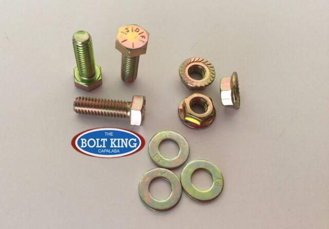 """1/4"""" x 1/2"""" UNC Hex Bolt Zinc Yellow High Tensile grade8 Kit 10 bolt/washer/fnut"""
