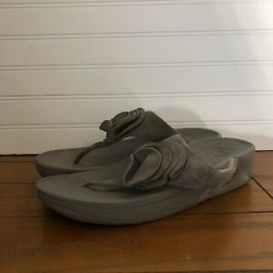 Fitflop Yoko Thong Sandal Beige Suede Flower Slip On Flip Flops Womens Size 11