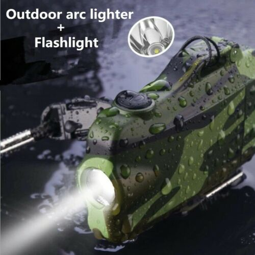 Survival Camouflage Lighter Flashlight USB Rechargeable Double Plasma Windproof