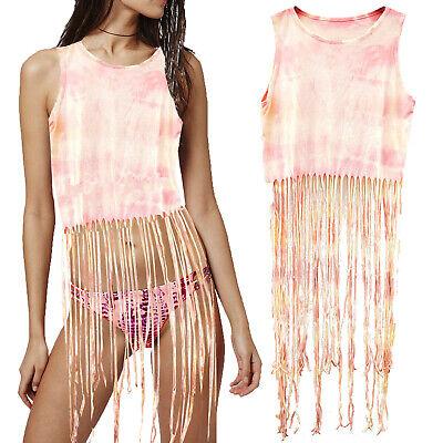 Da Donna Tie Dye Pattern Cami Top Donna Cotone Di Marca Spiaggia Vacanza Coprire-mostra Il Titolo Originale Delizie Amate Da Tutti