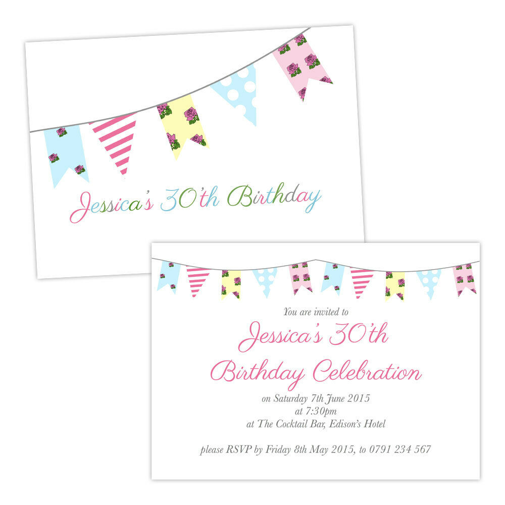 Personalised SHABBY Birthday Party Invitations FLORAL BIRTHDAY CHIC BUNTING FREE 5f4aae