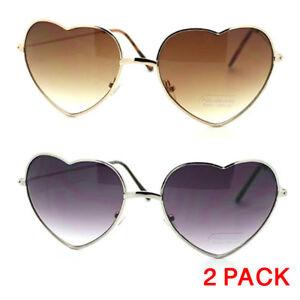 1fcd23e885 2 Pack Vintage Fashion Lolita Gold Heart Shaped Aviator Frame Women ...