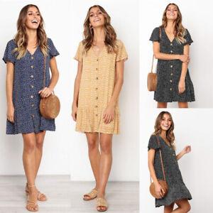 V-Neck-Boho-Women-Ruffles-Hem-Mini-Dress-Short-Sleeve-Party-Beach-Sundress