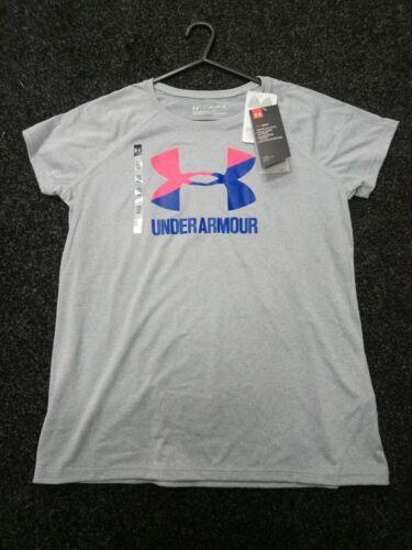 """Junior Girls Under Armour Big Logo heatgeat T Shirt Taglia Youth XL 32/"""" -34/"""""""