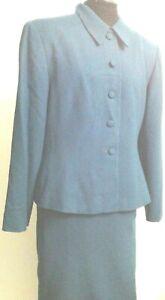 Kasper Women's Suit 2 Pcs Skirt/Jacket Button Front Long Sleeve100% Wool Size 16
