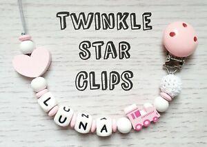 Personnalise-en-bois-Dummy-Clip-Baby-Pink-Hearts-train-silicone-lettres-Crochet