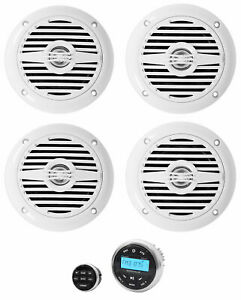 "(4) Rockville MS40W 4"" 200 Watt Marine Boat Speakers+Bluetooth Receiver+Remote"
