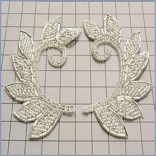 SILVER MOTIF LEAF BEADED APPLIQUE PAIR 0224-A