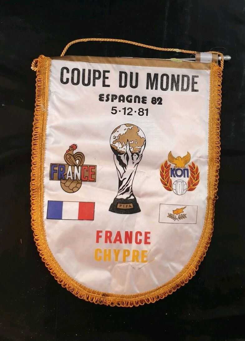 Maillot fanion jersey trikot france chypre cyprus 1982 vintage pennant flag 1981