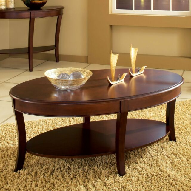 Steve Silver Troy Oval Wood Coffee Table Cherry 48 Inches