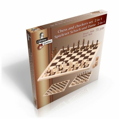 1 x Holz Brettspiel Spieleset XL Gesellschaftsspiel 2 in 1 Schach Dame Holzspiel