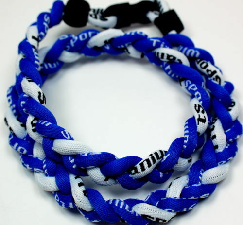 "BASEBALL Titanium Tornado Sports Necklace 20/"" Royal Blue White 3 Rope NEW"