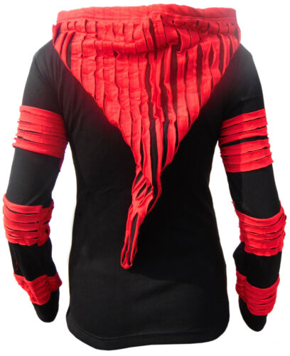 Black Hoodie Razot Pixie Funky Gothic Ladies Red Jacket Cut Cotton Hood Long a7PPWqgxnU