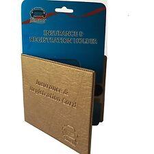 "Bronze CAR INSURANCE REGISTRATION HOLDER WALLET 5.25""x4.6"" Embossed Faux-Leather"