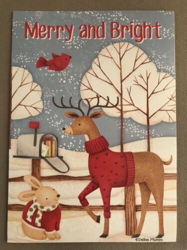"Bunny /& Reindeer Glittered Christmas Card /& Envelope By Debbie Mumm~7"" X 5"" NEW"