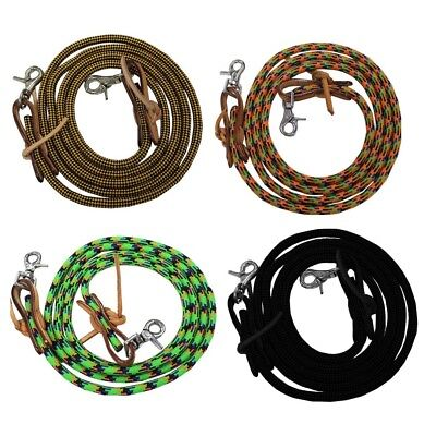 """Tahoe Tack Horse Nylon Barrel Reins with USA Leather Ends 5//8/"""" X 7/' 3 Colors"""