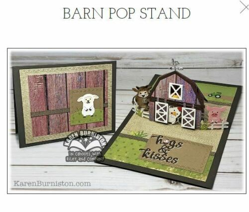 Fun ~3D Cards ~1096 KB Riley Karen Burniston Die Set  ~  BARN POP STAND  Farm