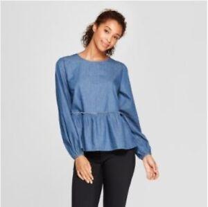 NWT-Universal-Thread-Women-039-s-Long-Sleeve-Chambray-Peplum-Blouse-Shirt-Top