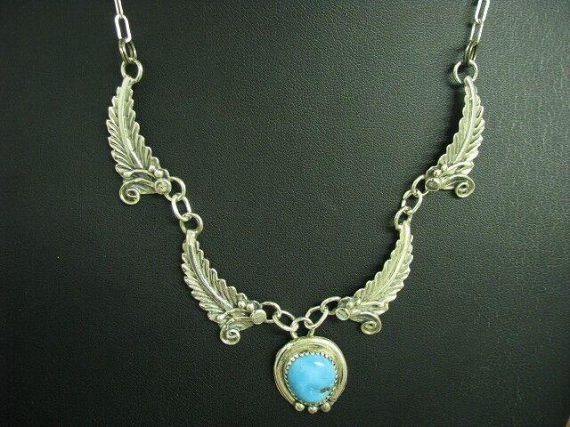 925 Sterling silver Collier mit Türkis Besatz   Echtsilver   43,5cm   14,3g