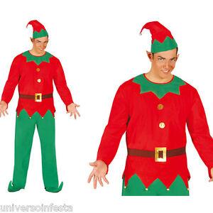 Costume-da-ELFO-adulto-uomo-aiutante-di-BABBO-NATALE-Tg-52-54