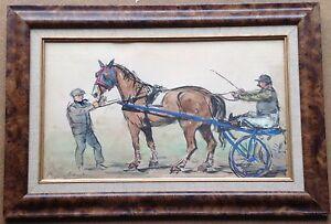Art Objective Pierre Olivier Dubaut SchÖn Aquarell Vorne Dem Regatta Gespann Pferd Sulky Factories And Mines