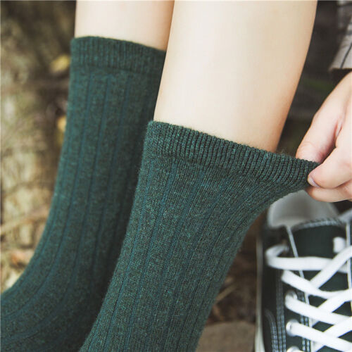 5 Pairs Women Wool Cashmere Warm Thick Solid Soft Casual Sports Winter Socks Lot