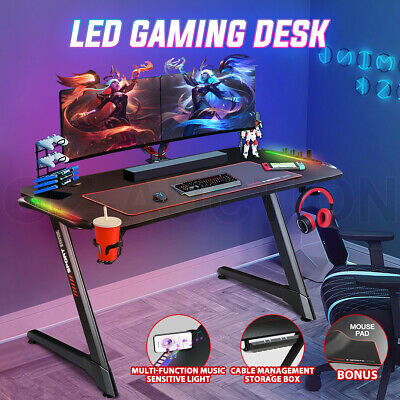 Details about  Z Shaped Gaming Desk Computer Home Office Writing Desk Racer Table RGB LED Light