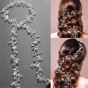 Pearl-Hair-Vine-Wedding-Crystal-Bridal-Accessories-Diamante-Headpiece-35CM