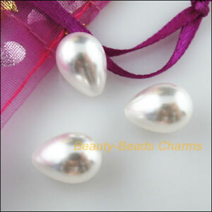 6-New-Charms-White-Teardrop-Pearl-Half-Hole-Drilled-Beads-Acrylic-10x14mm