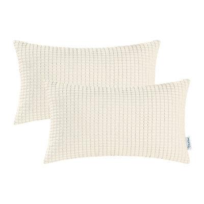 "2Pcs Yellow Gold Pillow Shells Cushion Covers Corn Soft Corduroy Striped 20x20/"""