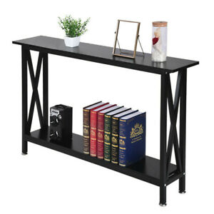Super Details About Metal Frame Wood Console Sofa Table With Storage Shelf Home Garden Furniture Bralicious Painted Fabric Chair Ideas Braliciousco