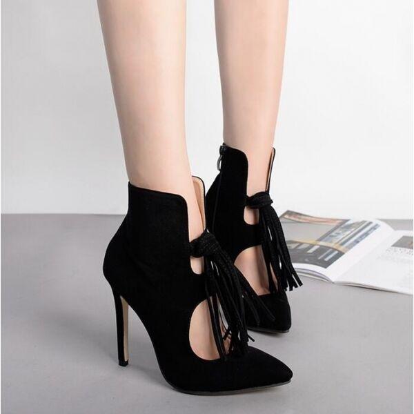 Stiefelies Stiefel summer schwarz schwarz schwarz fringes fashion stiletto 11 cm like leather CW395 c4ae62