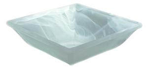 Alabaster Brunnenschale weiß eckig mit Einlage Deko Glas Schale Zimmerbrunnen