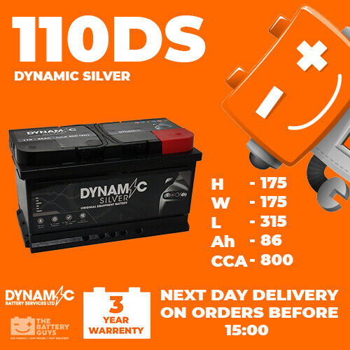 12V 110 DS HIGH POWER CAR BATTERY 86AH SUITABLE FOR FORD VAUXHALL RENAULT