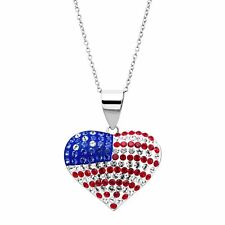 Crystaluxe American Flag Heart Pendant with Swarovski Crystals, Sterling Silver