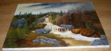 NATURE FOREST PINE TREES WATERFALL GRIST MILL CLIFFS LANDSCAPE COLORADO PAINTING