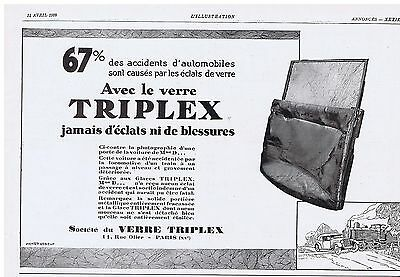 Beautiful Publicite Advertising 044 1928 L Illustration Verre Triplex Pas D 'éclats Collectibles