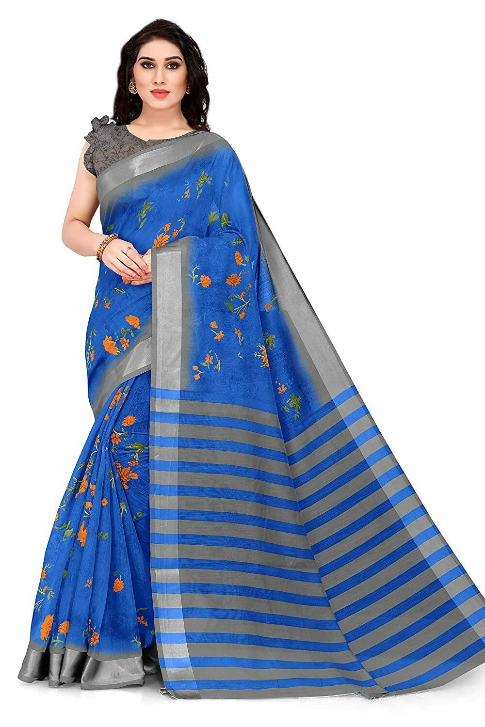 Women's Cotton Blend Saree With Unstitched Blouse Piece ( Free Shipping )