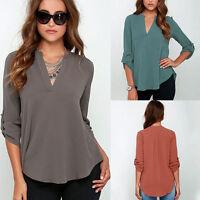 Womens Roll Up Sleeve V Neck Oversized Tops Loose Chiffon T Shirt Blouse UK 6-18