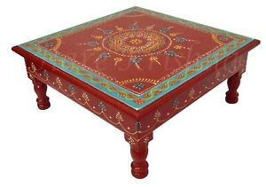 Strange Details About Wooden Square Coffee Table Hand Painted Designer Step End Table Chowki Red 13 Bralicious Painted Fabric Chair Ideas Braliciousco